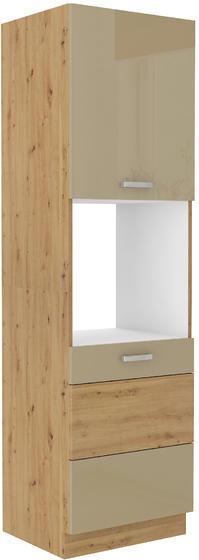Vysoká skříň 60 DP ARTISAN CAPPUCCINO lesk / dub artisan