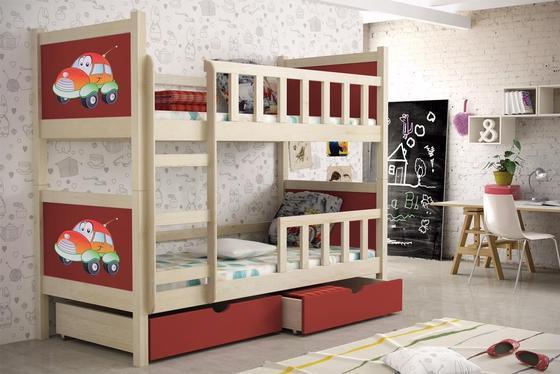 Dětská patrová postel PINOKIO 2  přírodní  - 1
