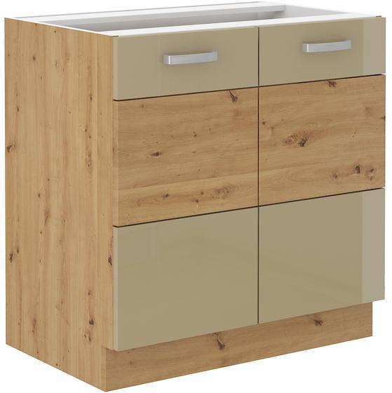 Spodní skříňka 80 2F ARTISAN CAPPUCCINO lesk / dub artisan  - 1