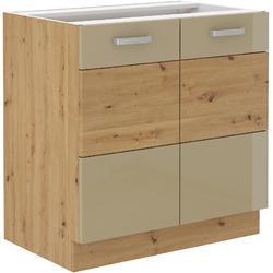 Spodní skříňka 80 2F ARTISAN CAPPUCCINO lesk / dub artisan - 1/2