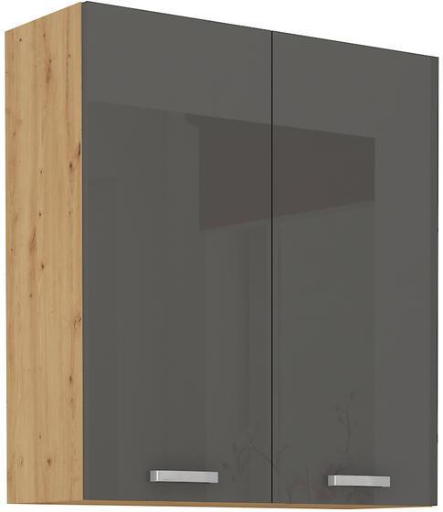 Horní skříňka  80 G ARTISAN ŠEDÝ lesk / dub artisan