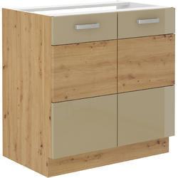Spodní skříňka pod dřez 80 2F ARTISAN CAPPUCCINO lesk/ dub artisan - 1/2
