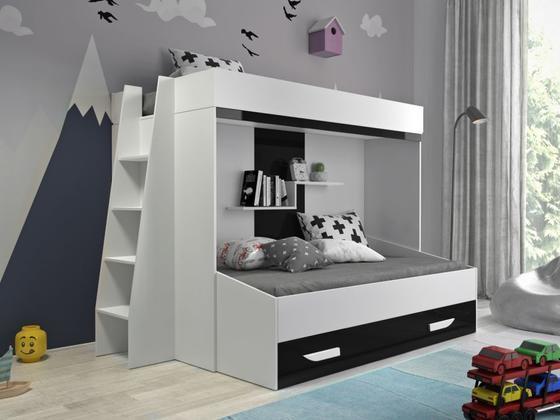 Patrová postel PARTY 17, bílá/černý lesk  - 1