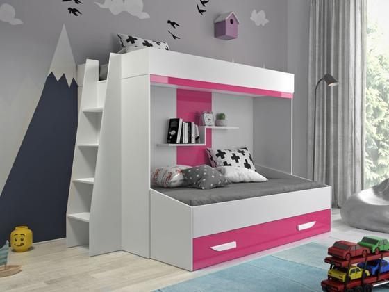 Patrová postel PARTY 17, bílá/růžový lesk  - 1
