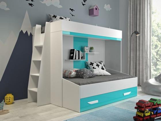 Patrová postel PARTY 17, bílá/tyrkysový lesk  - 1