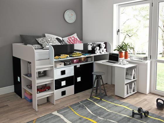 Patrová postel TOLEDO 1, bílá/černý lesk  - 1