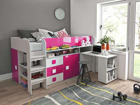 Patrová postel TOLEDO 1, bílá/růžový lesk  - 1