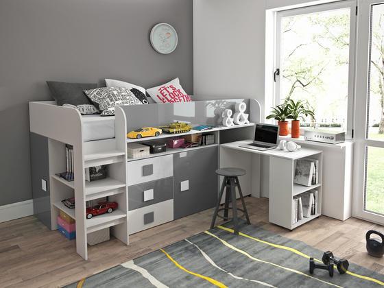 Patrová postel TOLEDO 1, bílá/šedý lesk  - 1