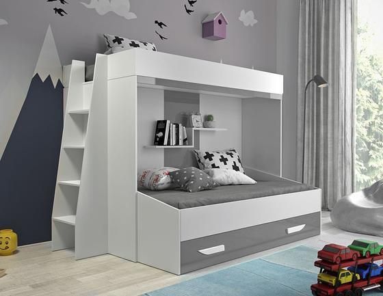 Patrová postel PARTY 17, bílá/šedý lesk  - 1