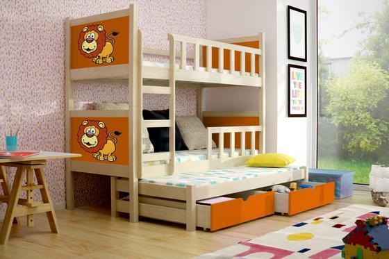 Dětská patrová postel PINOKIO 3 přírodní  - 1