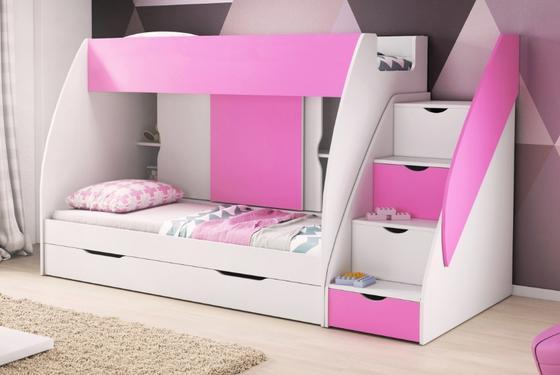 Patrová postel MARTÍNEK, růžová/bílá  - 1