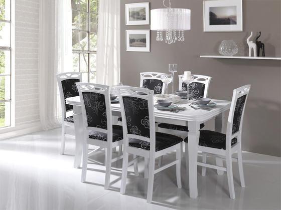 Jídelní sestava, stůl S3 a židle K3, bílá  - 1