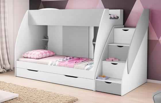 Patrová postel MARTÍNEK, šedá/bílá  - 1