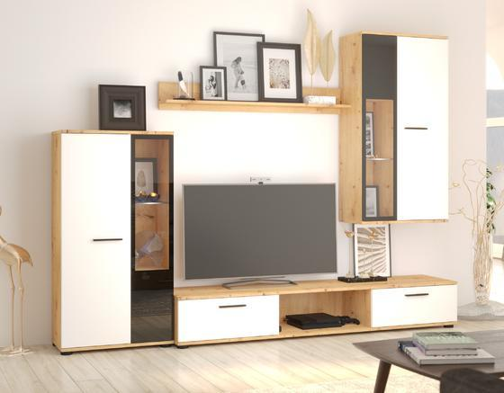 Obývací stěna SALSA, bílá/dub artisan  - 1