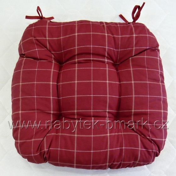 Sedák čalouněný, červený kostkovaný  - 1