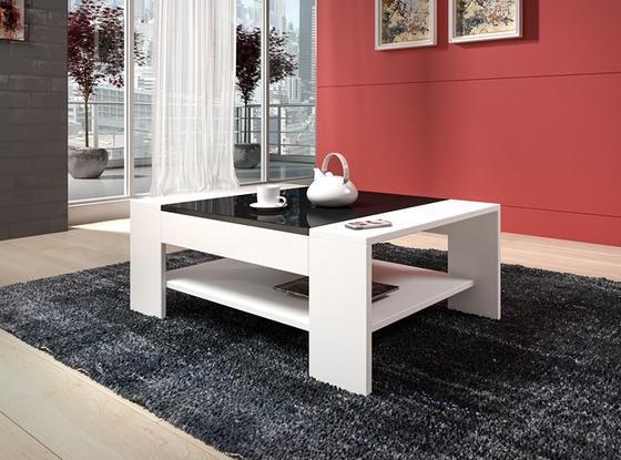 Konferenční stolek TWISTER-bílá/černý lesk  - 1