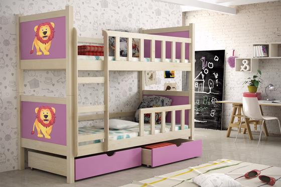 Dětská patrová postel PINOKIO 2  přírodní  - 2