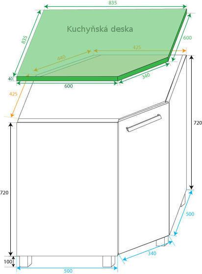 Dolní rohová skříňka na koš LOARA - KLNDK  - 2
