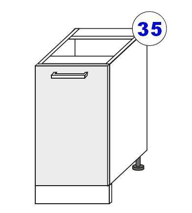 Spodní skříňka 40 1F ARTISAN CAPPUCCINO lesk / dub artisan  - 2
