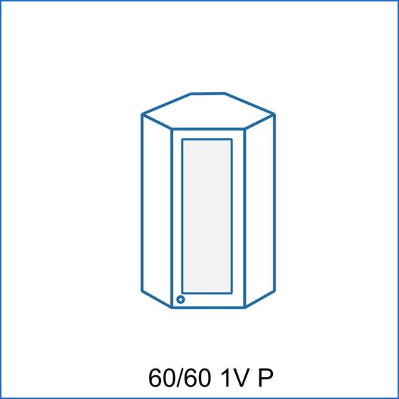 Horní rohová skříňka 60/60 vitrína 1D REMI  - 2