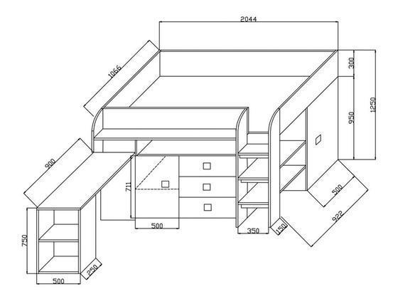 Patrová postel TOLEDO 1, bílá/černý lesk  - 2