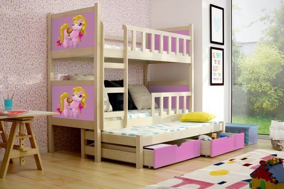 Dětská patrová postel PINOKIO 3 přírodní  - 2