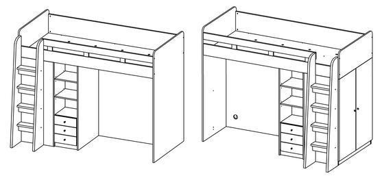 Patrová postel s psacím stolem Unit  - 2