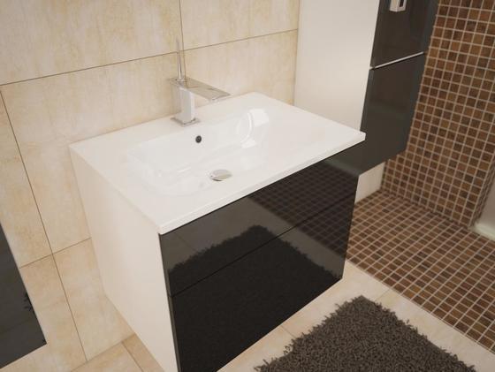 Koupelnová sestava PORTO - ČERNÝ LESK/BÍLÁ  - 2