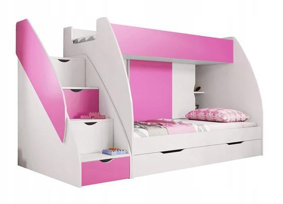 Patrová postel MARTÍNEK, růžová/bílá  - 2
