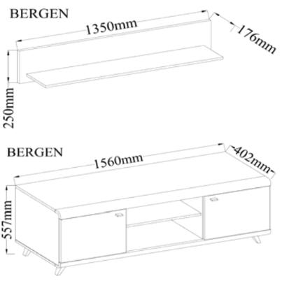 RTV stolek + police | BERGEN II  - 2