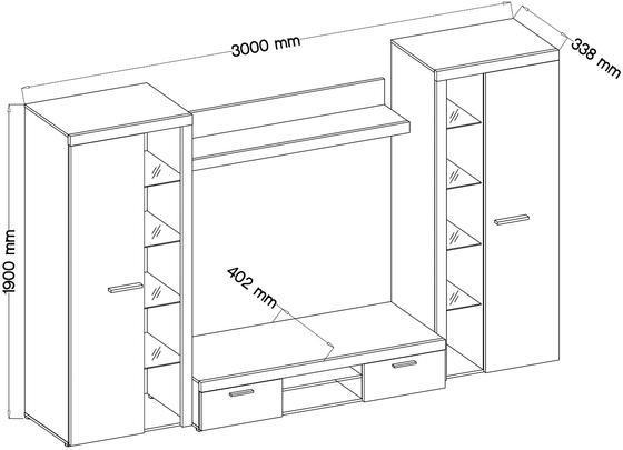 Obývací stěna RUMBA XL, dub sonoma  - 2