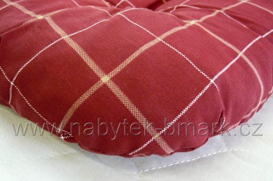 Sedák čalouněný, červený kostkovaný  - 2