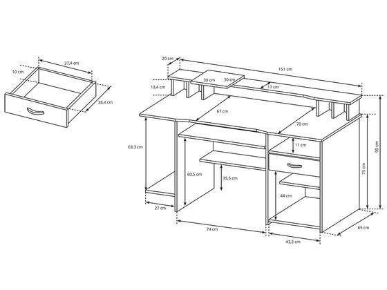 Psací PC stůl P4- dub sonoma  - 2