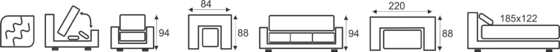 Sedací souprava STEEL 3+1+1 - vzorník sk. VI - 2