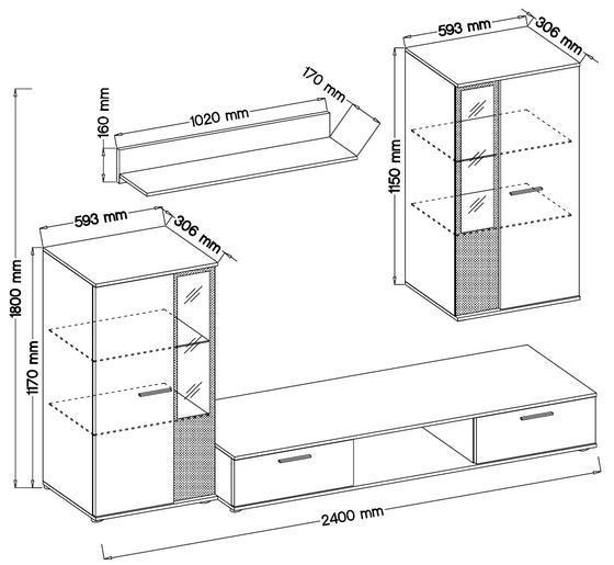 Obývací stěna SALSA, bílá  - 2