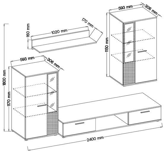 Obývací stěna SALSA, bílá/dub artisan  - 2