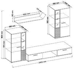 Obývací stěna SALSA, bílá/dub artisan - 2/2