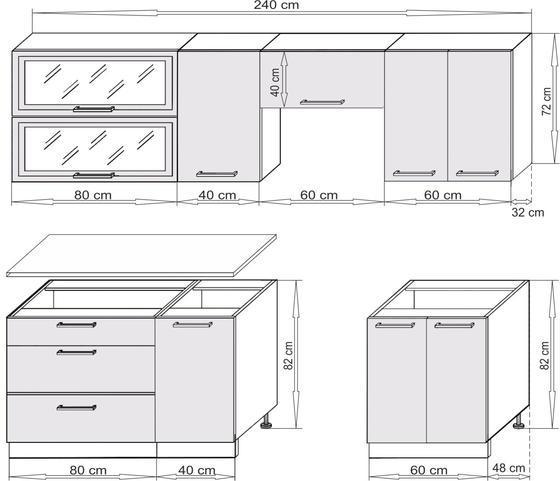 Kuchyňská linka COUNTRY 180+60 cm  - 2