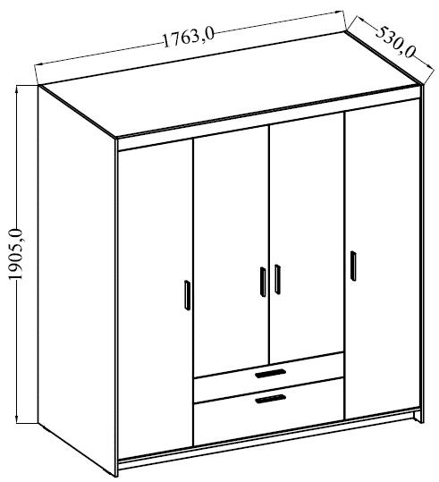 Skříň ELENA 4D, dub lefkas  - 3