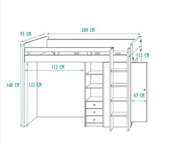 Patrová postel s psacím stolem Unit  - 3
