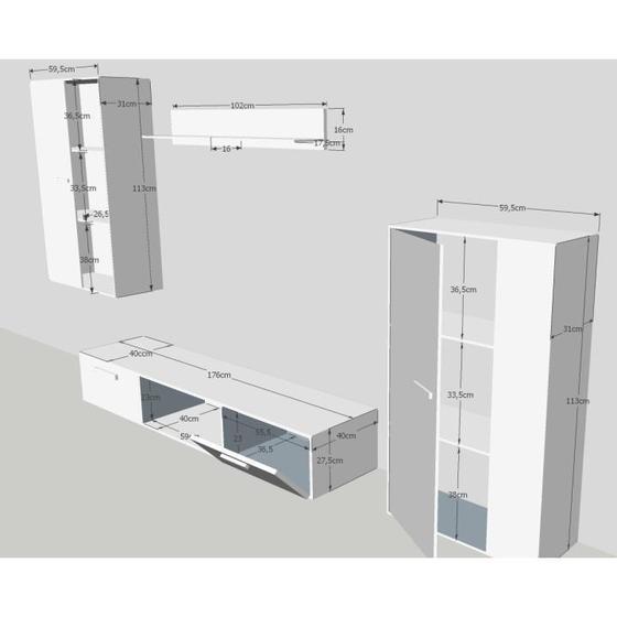 Obývací stěna SALSA, bílá/dub artisan  - 3