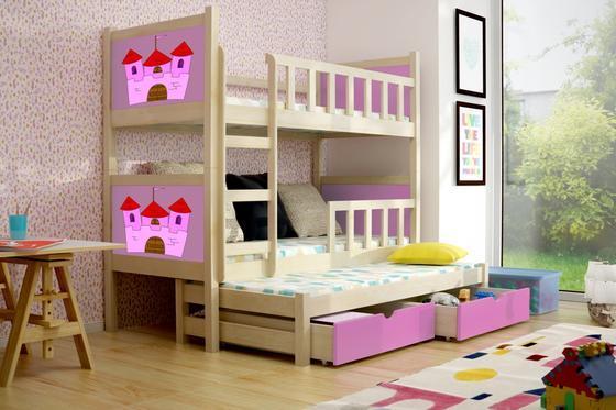 Dětská patrová postel PINOKIO 3 přírodní  - 4